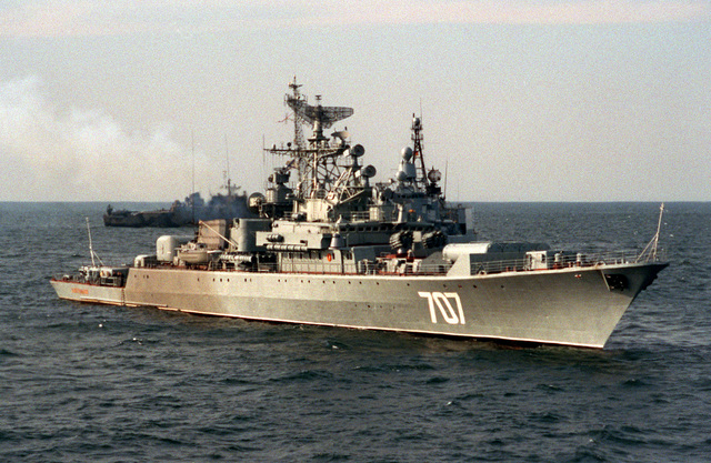A starboard bow view of the Russian navy Krivak I class frigate BDITELNY during exercise BALTOPS '93. For the first time in the 22-year history of BALTOPS, the Eastern European countries of Estonia, Latvia, Lithuania, Poland and Russia were invited to participate in the non-military phases of the exercise