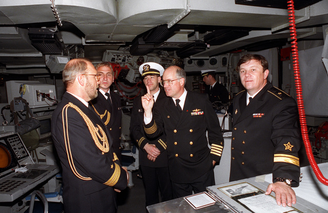 CAPT. W. Scott Slocum, Commander Destroyer Squadron 26 and commander of exercise BALTOPS '93, tours the bridge of the destroyer USS DEYO (DD-989) with Russian Rear Adm. W.P. Comoyedoff, chief of the Baltic Squadron. DEYO is serving as Slocum's exercise flagship. For the first time in the 22-year history of BALTOPS, the Eastern European countries of Estonia, Latvia, Lithuania, Poland and Russia were invited to participate in the non-military phases of the exercise. DEYO is serving as flagship for the exercise commander