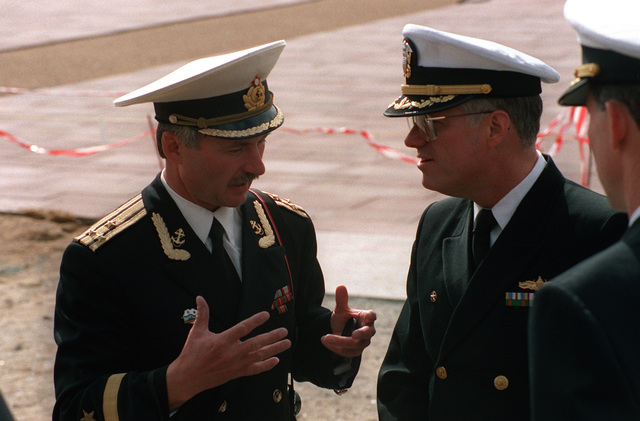 CAPT. W. scott Slocum, right, Commander Destroyer Squadron 26 and exercise commander for BALTOPS '93, speaks with a Russian naval officer. For the first time in the 22-year history of BALTOPS, the Eastern European countries of Estonia, Latvia, Lithuania, Poland and Russia were invited to participate in the non-military phases of the exercise