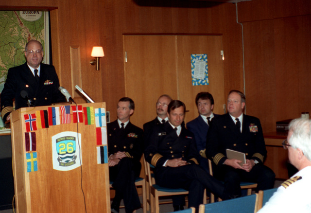 Captain W. Scott Slocum, Commander Destroyer Squadron 26 and exercise commander for BALTOPS '93, addresses representatives from the 14 nations participating in the exercise. For the first time in the 22-year history of BALTOPS, the Eastern European countries of Estonia, Latvia, Lithuania, Poland and Russia were invited to participate in the non-military phases of the exercise