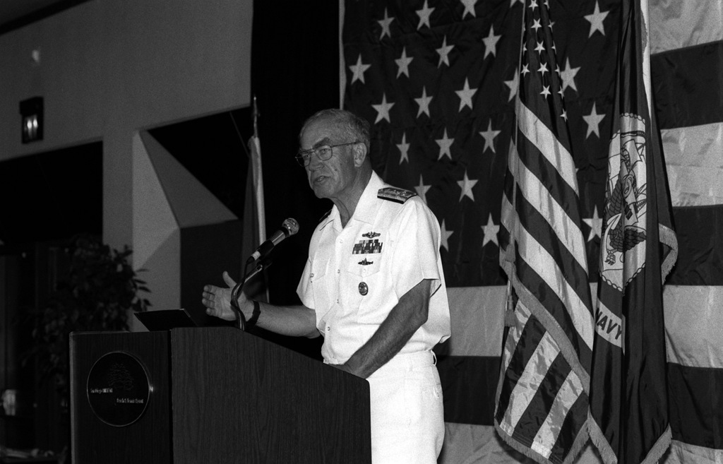 Adm. Frank B. Kelso II, chief of naval operations, addresses members of the San Diego Chamber of Commerce during a speech at the San Diego Hilton