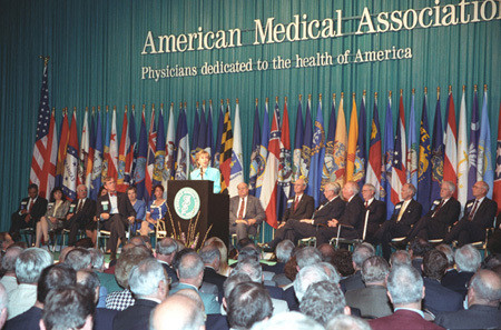 Photograph of First Lady Hillary Rodham Clinton Addressing the Annual Meeting of the American Medical Association