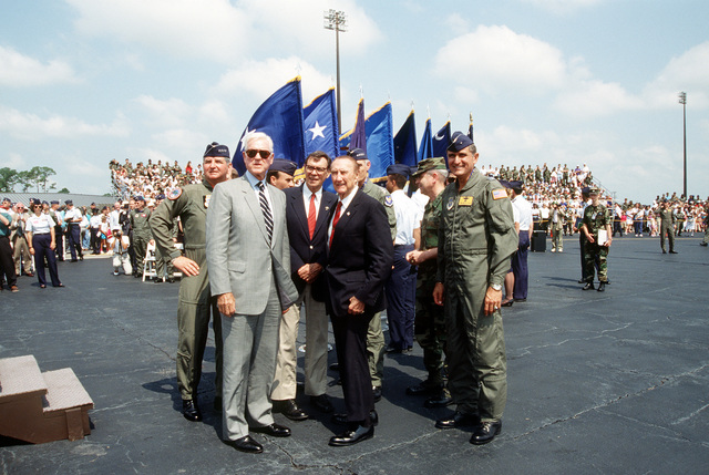 (Left to Right) Air Mobility Command's Commander, GEN Ronald Fogelman, U.S. Senators, Ernest Hollings and Strom Thurmond and BGEN Thomas R. Mikolajcik, Commander, 437th Airlift Wing during turnover ceremonies for the first C-17 Globemaster III being delivered to the Air Force