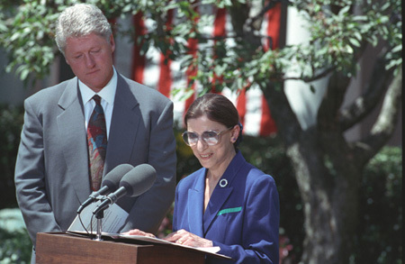 Photograph of President William J. Clinton with Ruth Bader Ginsburg in the Rose Garden