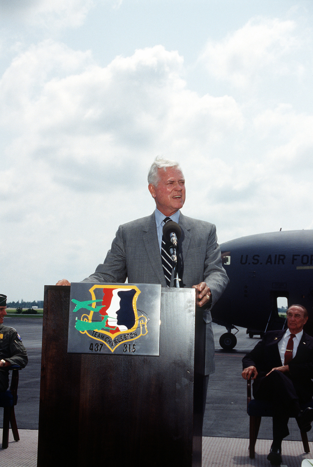 U.S. Senator, Ernest Hollings, D-SC, at the lectern during the turnover ceremonies for the first C-17 Globemaster III being delivered to the Air Force