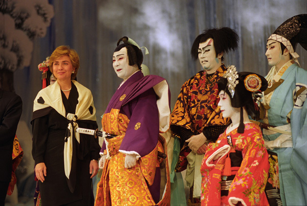 Photograph of First Lady Hillary Rodham Clinton Greeting Kabuki Theatre Performers On-Stage
