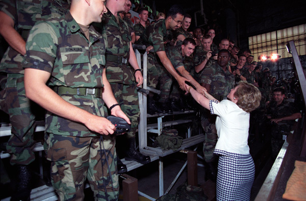 Photograph of First Lady Hillary Rodham Clinton Shaking Hands with Troops at Camp Casey in South Korea