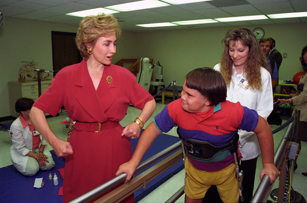 Photograph of First Lady Hillary Rodham Clinton Visiting the Arkansas Children's Hospital in Little Rock