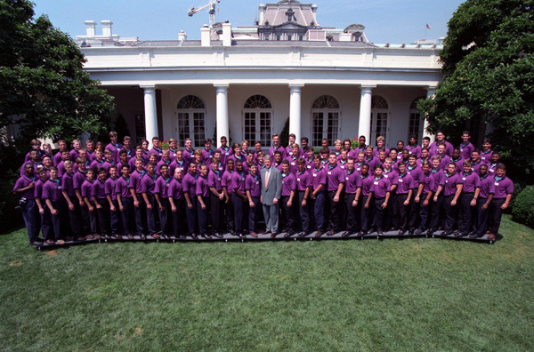 Photograph of President William J. Clinton with Boys Nation Class of 1993 in the Rose Garden at the White House