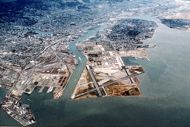 An overhead aerial horizontal view of Naval Air Station Alameda