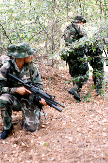 Members of SEAL Team 2. Platoon Alpha, are shown in a training scenario required to maintain their highly skilled proficiency in guerilla warfare. The SEAL on the left is armed with an M16A2 assault rifle