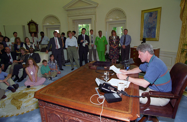 Photograph of President William J. Clinton Delivering His Weekly Radio Address