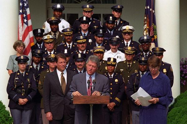 Photograph of President William J. Clinton Delivering His Anti-Crime Initiative Announcement in the Rose Garden