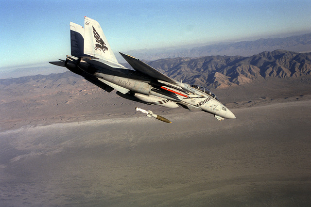 Right side view of a F-14B Tomcat aircraft of Fighter Squadron 143 (VF-143), the Pukin' Dogs, dropping a Mark 83 1,000 pound bomb over the bombing range. The pilot of the aircraft is LT. Chris Blaschum and the radar Intercept officer (RIO) is LT. Jack Liles