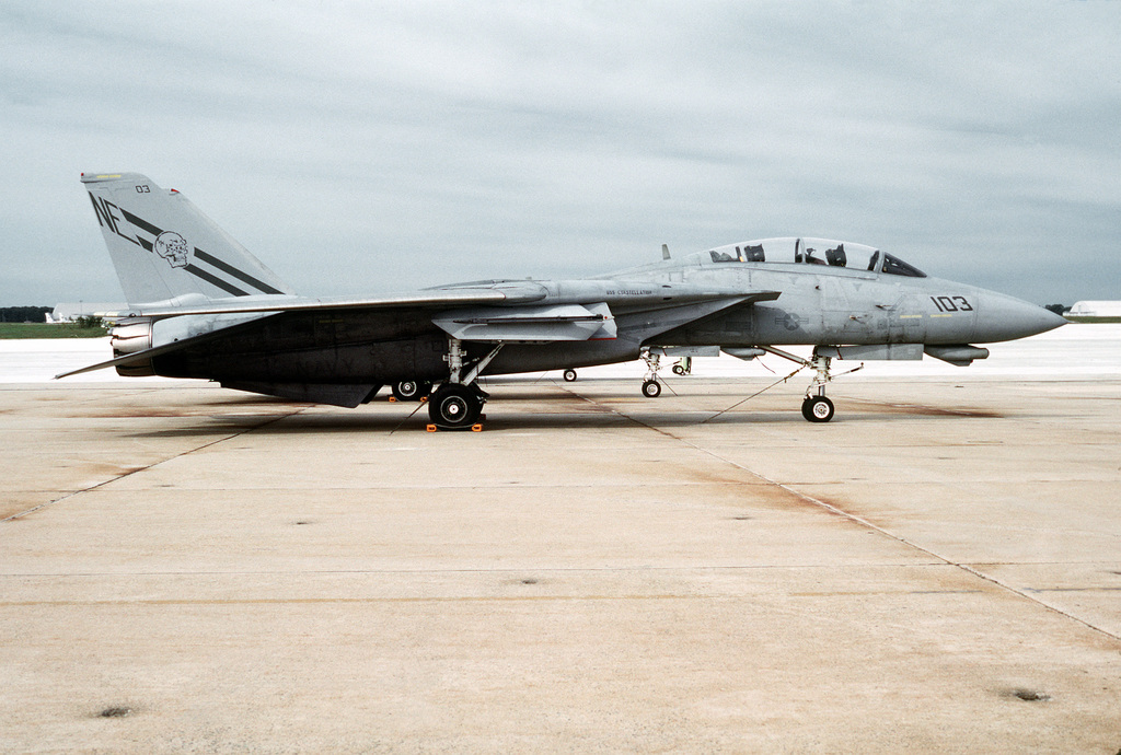 A right side view of an F-14D Tomcat aircraft of Fighter
