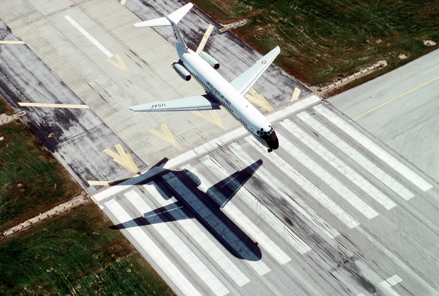 An air-to-air, three quarter, high front view of a McDonnell Douglas built C-9A Nightingale aircraft as it prepares to touchdown, land, at the base. The C-21A is assigned to the 375th Airlift Wing, Air Mobility Command