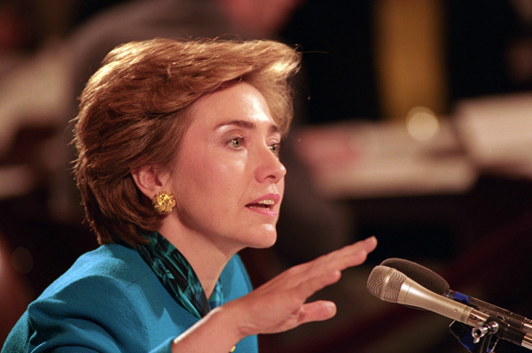 Photograph of First Lady Hillary Rodham Clinton Testifying on Health Care at a Senate Labor and Human Resources Hearing