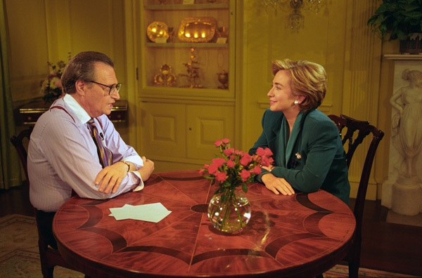 Photograph of First Lady Hillary Rodham Clinton Taping a Larry King Weekend Show