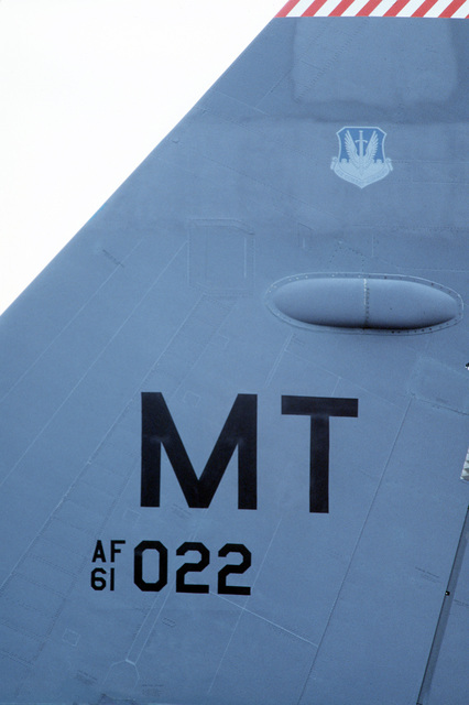 A close-up of the tail fin of a B-52H Stratofortress aircraft from the 5th Bombardment Wing, Air Combat Command, stationed at Minot Air Force Base