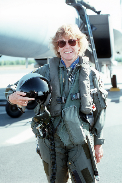On her first day in office as Secretary of the Air Force, Dr. Sheila Widnall poses in a flight suit after a trip in an F-150. She is the first female to hold this position