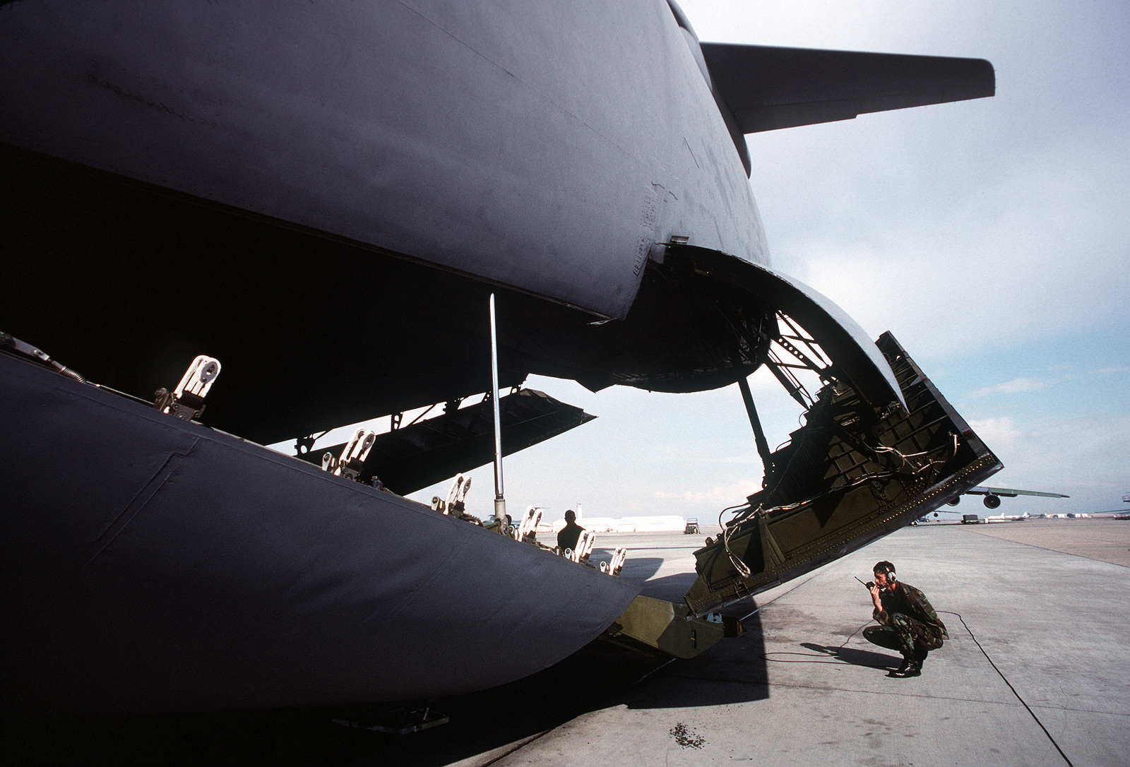 Rear cargo doors of oneof the two C-5s that were modified to accommodate outsize shuttle component parts. Both C-5Cs are assigned to the 60th Airlift Wing at Travis AFB, Calif. The modified cargo space is as large as the space shuttle's cargo bay. Exact Date Shot Unknown .Published in AIRMAN Magazine November 1994