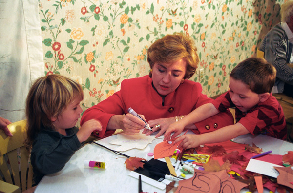Photograph of First Lady Hillary Rodham Clinton Participating in Activities with Children at the Kent Nursing Home
