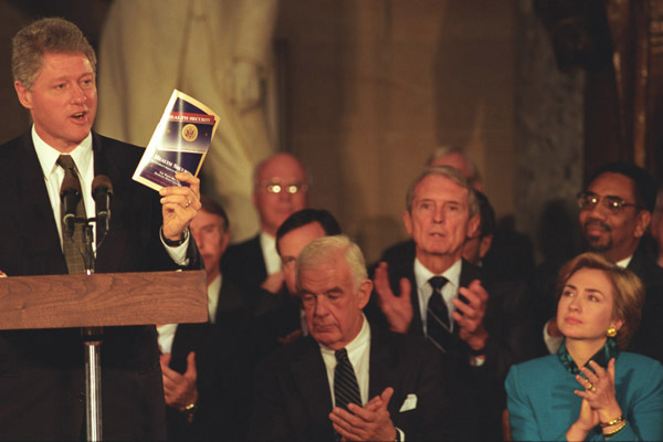 Photograph of President William J. Clinton Giving a Speech on Health Care in Statuary Hall at the U.S. Capitol