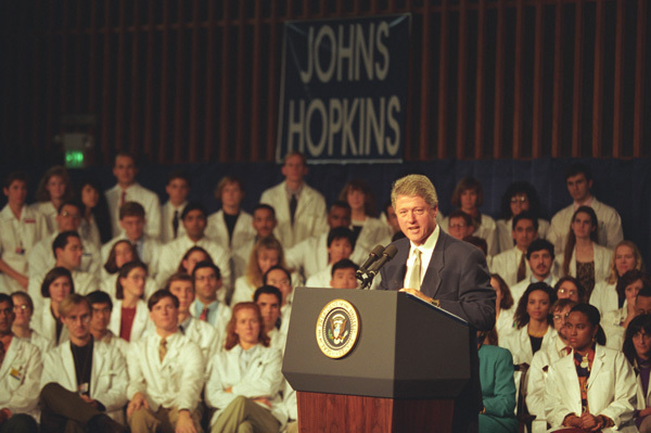 Photograph of President William J. Clinton Giving a Speech on Health Care Legislation at Johns Hopkins University