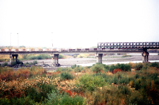A side view of the Bailey bridge built by US Army Engineers spans the width of the Harbor River which acts as a natural border between Turkey and Northern Iraq.(Exact date unknown)