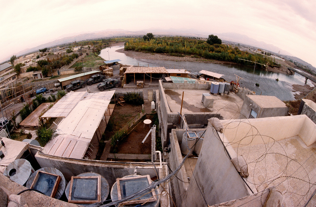 A view of the backyard of the Military Coordination Center compound, in the town of Zakho in northern Iraq. The MCC is the Joint Service Combined Forward Liaison element to Joint Task Force Provide Comfort, which is based at Incirlik Air Base, Turkey. Their mission is to monitor Iraqi compliance with the United Nations Security Council resolution 688. The MCC is staffed by military representatives from Turkey, Britain, France and the United States