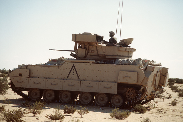 Members of the 24th Infantry Division, Fort Stewart, GA, and the Egyptian Army, conduct a live fire exercise at the Murbarak Range in Egypt using Bradley fighting vehicles