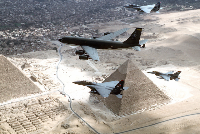 A KC-135R, F-15's and a F-16 from the 366th Air Wing, Mountain Home AFB, Idaho, fly over the pyramids of Egypt