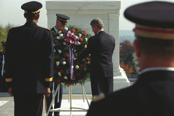 Photograph of President William J. Clinton Placing a Wreath at the Tomb of the Unknown Soldier at Arlington National Cemetery in Arlington, Virginia