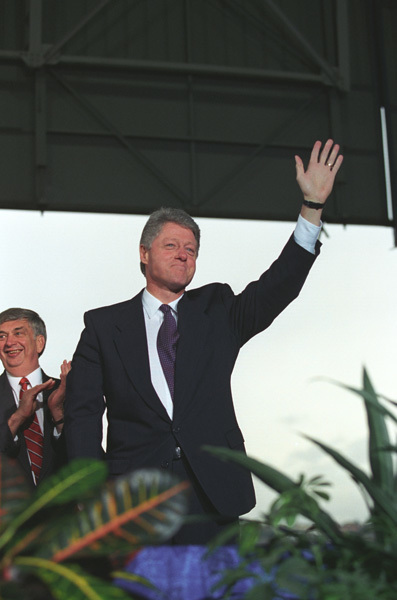 Photograph of President William J. Clinton Waving to the Crowd During His Arrival at Boeing Field in Seattle, Washington