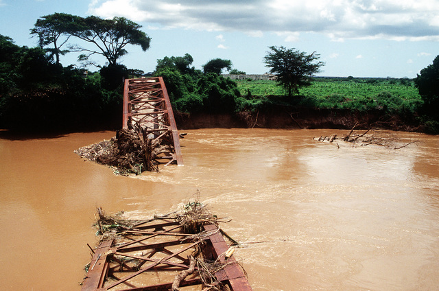 A destroyed bridge that spanned one of the rivers near Kismayo
