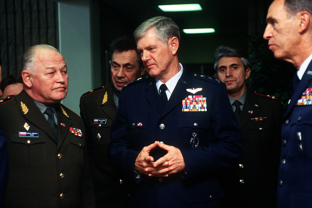 GEN. Igor Sergeyev, Commander in CHIEF of Russian Strategic Rocket Forces, meets with LT. GEN. Dirk Jameson, 20th Air Force Commander (center) and MAJ. GEN. Robert Parker, Director of Operations for the Air Forcxe Space Command. GEN. Sergeyev is on a tour of U.S. military installations in an effort to help establish a raport with the former adversary