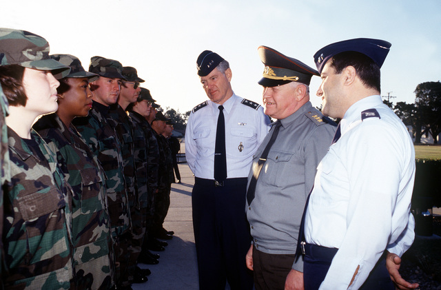 Personnel from the 394th Organizational Missile Maintenance Squadron, along with LT. GEN. Dirk Jameson, 20th Air Force Commander, meet GEN. Igor Sergeyev, Commander in CHIEF of the Russian Strategic Rocket Forces. GEN. Igor Sergeyev is on a tour of U.S. military installations, helping to establish a rapport with the former adversary