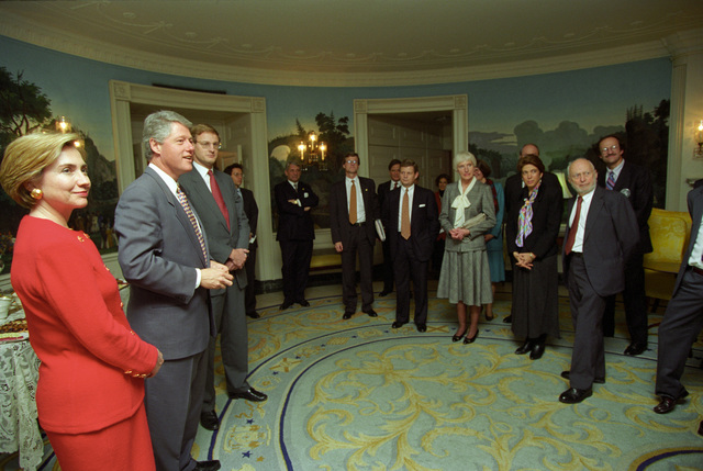 Photograph of President William Jefferson Clinton and First Lady Hillary Rodham Clinton Hosting the 1993 Nobel Laureates in the Diplomatic Reception Room at the White House