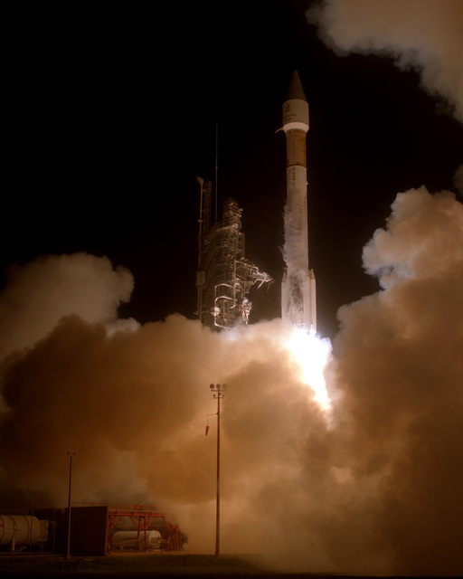 A Telestar 401 Communications Satellite lifts off in a successful launch from complex 36B at 1940 hours eastern standard time aboard General Dynamics first Atlas IIAS Space Vehicle