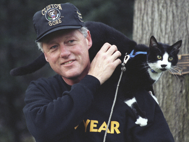 Photograph of President William Jefferson Clinton with Socks the Cat Perched on Clinton's Shoulder