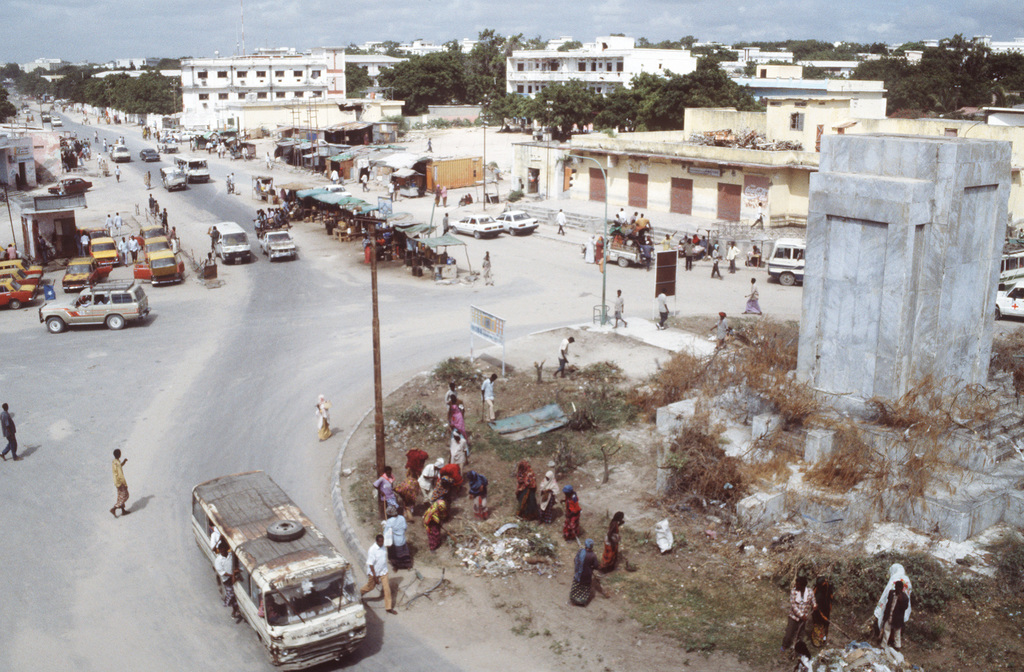 A view of the K-4 Circle outside of the Bangladesh Army compound in Mogadishu. Somalis work around and within the compound in exchange for food in a work-for-food program set up by the Bangladeshis