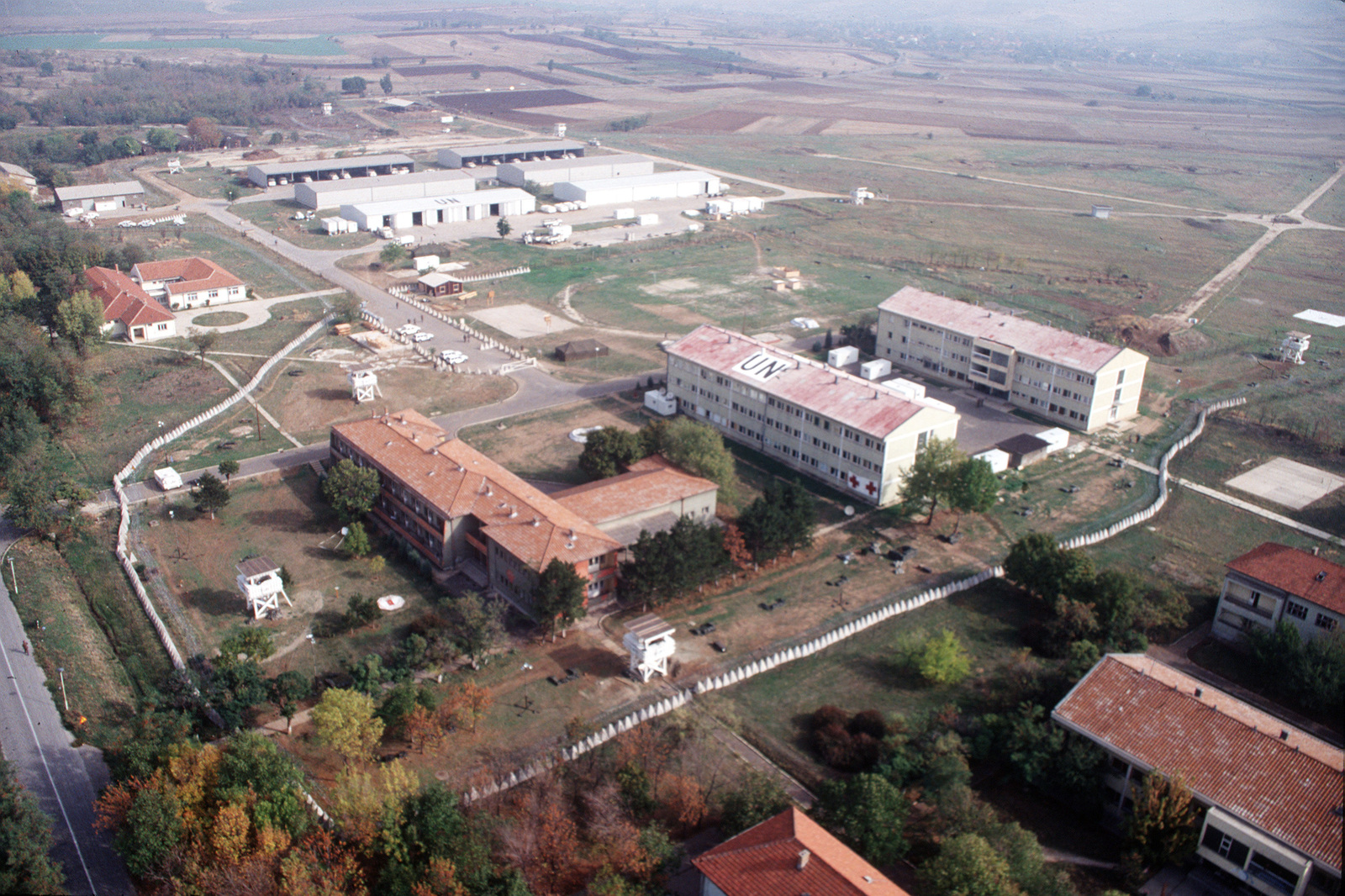 Aerial view of US Army Camp Able Sentry near Skopje, Macedonia
