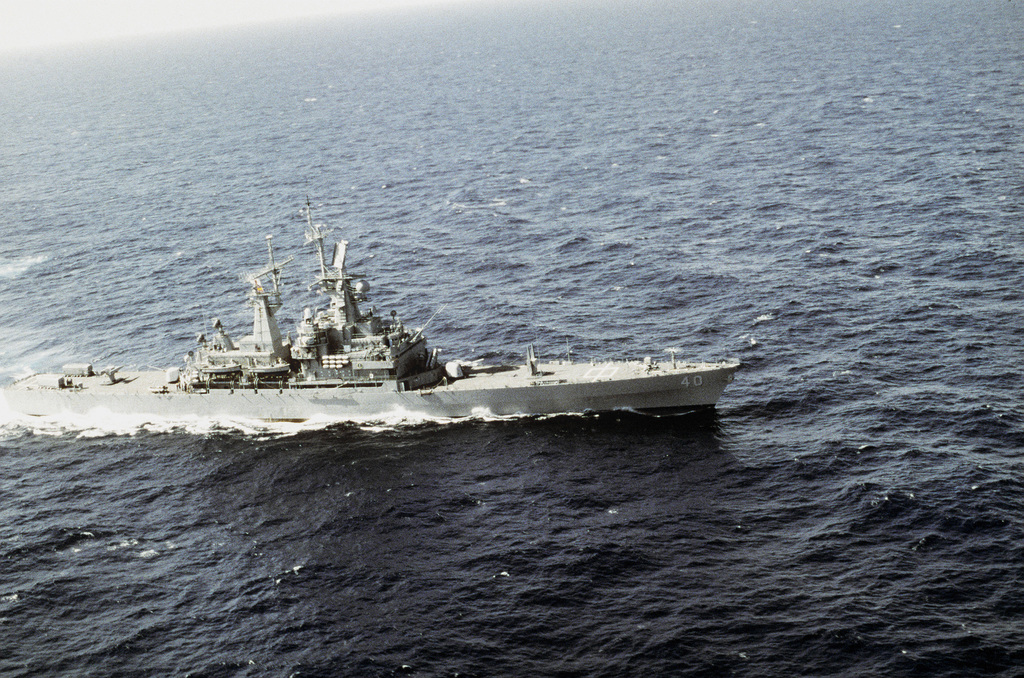 A starboard side view of the nuclear-powered guided missile cruiser USS MISSISSIPPI (CGN-40) underway off the coast of Haiti as a part of the multi-national naval force participating in Operation Support Democracy