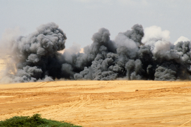 Heavy smoke rises above the line of explosions created by the Mine Clearing Line Charge, or MICLIC, on a firing range. The MICLIC is a rocket propelled line charge capable of breaching obstacles, walls, or minefields. The MICLIC has a 350 foot line charge secured by a 205 foot arresting cable and contains 1840 pounds of C-4 explosives. A Fort Stewart unit deployed to the operation conducted the exercise