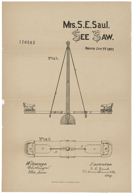 Patent Drawing for a See Saw