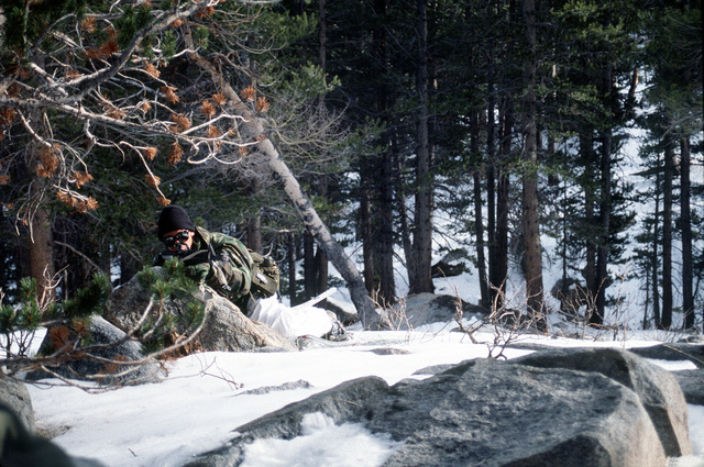 A Marine rifleman from India Company, Third Battalion, Eighth Marines lies over a large rock ready to fire his weapon during cold weather training at Silver Creek