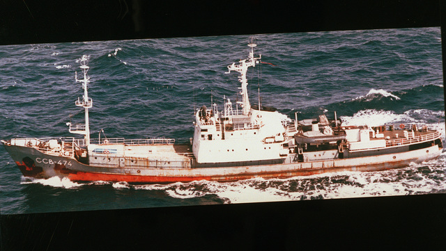 Aerial port side view of the Russian Navy Pacific Fleet Moma class intelligence collection ship Vega (SSV-474) underway