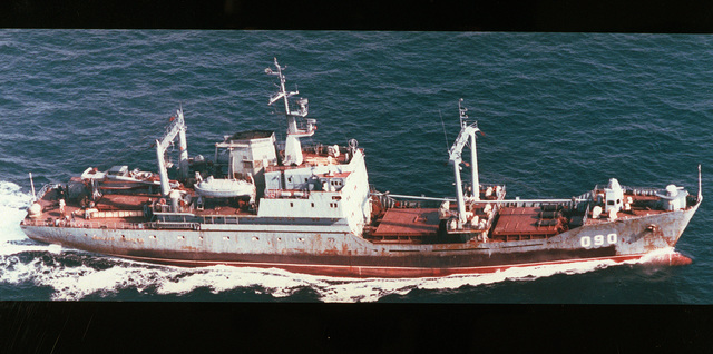 An aerial starboard side view of the Russian Maritime Border Guard Neon Antonov class cargo ship Sergey Sudetsky (090) underway