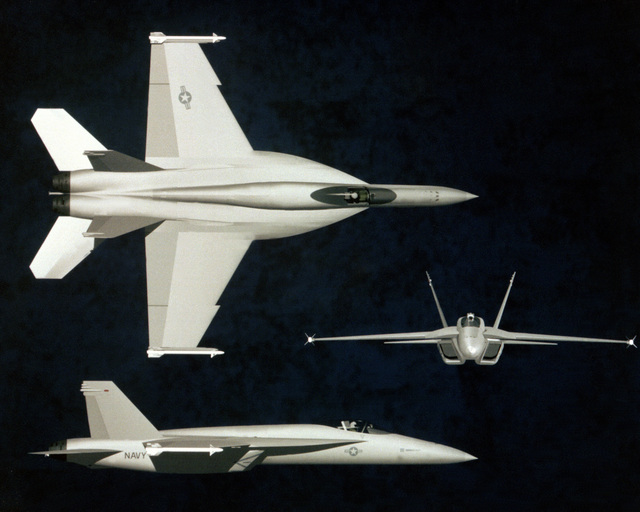 F/A-18E/F Hornet aircraft proposed design. Note increased wing area including larger strakes and revised inlet design