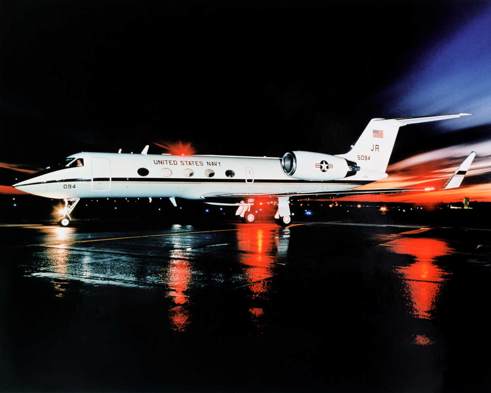 A night view of the new C-20G transport aircraft parked on the tarmac at Naval Air Station. This is the first of five aircraft to be delivered to the Navy. One additional aircraft will go the Marine Corps.(Exact date unknown)